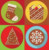 Christmas cookies. New year gingerbread. spruce, gift, sock, snowflake. Flat icons with long shadow. Party food. Christmas cookies. New year gingerbread. spruce stock illustration