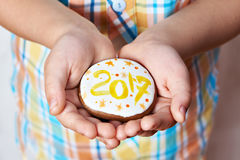 Christmas cookies with number 2017 in palms of child Stock Photos