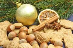 Christmas Cookies with Nuts Stock Image