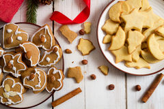Christmas cookies with nuts and cinnamon royalty free stock images