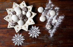 Christmas cookies on wooden background Stock Images