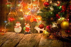 Christmas Cookies On Rustic Table In Christmas Night Stock Image