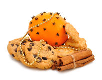 Christmas cookies, orange and cinnamon Stock Photo