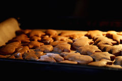 The Christmas cookies in the oven Stock Image