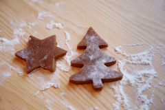The Christmas cookies in the oven Stock Photo