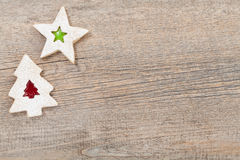 Christmas Cookies. Overhead view of 2 christmas cookies on a wooden background with copy Space stock images