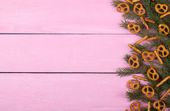Christmas cookies on a pink background for your text Royalty Free Stock Images