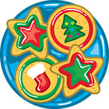 Christmas Cookies on a plate Royalty Free Stock Images