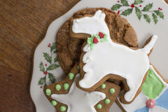 Christmas Cookies. A plate full of home made Christmas cookies from above Stock Image