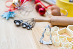 Christmas cookies preparation on wood table Royalty Free Stock Photography