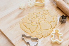 Christmas cookies preparation on wood table Stock Photography