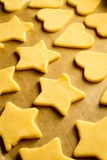 Christmas cookies ready for baking royalty free stock photography