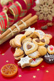 Christmas cookies in red background Stock Image