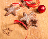 Christmas cookies and red ball Royalty Free Stock Photo