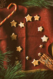 Christmas cookies on the red napkin with different accessorizes vertical Stock Images