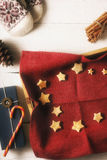 Christmas cookies on the red napkin in the tray  with different accessorizes vertical Stock Image
