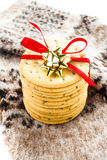 Christmas  cookies with red ribbon bow and knitted Stock Image