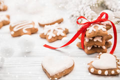 Christmas cookies with red ribbon Stock Images