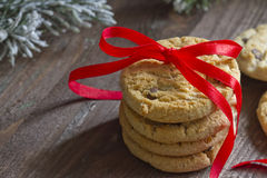 Christmas cookies with red ribbon closeup Stock Images