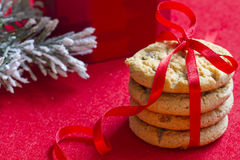 Christmas cookies with red ribbon closeup Royalty Free Stock Images