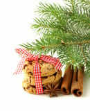 Christmas cookies with red ribbon and green fir tree Royalty Free Stock Photos
