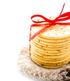 Christmas  cookies with red ribbon and knitted winter mitten iso Royalty Free Stock Photo