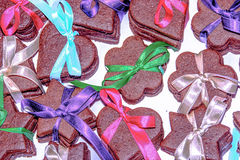Christmas cookies with ribbons Royalty Free Stock Images
