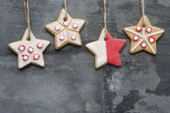 Christmas cookies on rustic style grunge background Royalty Free Stock Image