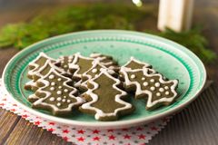Christmas cookies. On rustic wood background stock images