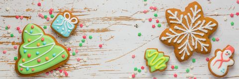 Christmas cookies on rustic wood background. Top view Stock Photos