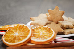 Christmas cookies on rustic wood table Royalty Free Stock Photography