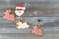 Christmas Cookies on Rustic Wood Royalty Free Stock Photo