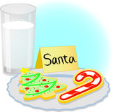Christmas Cookies for Santa/eps. Illustration of a plate of Christmas cookies and a glass of milk waiting for Santa Claus Stock Photography