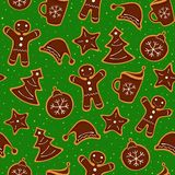 Christmas cookies seamless pattern. Christmas decoration of pattern from festive cookies with chocolate.  Seamless texture. Vector illustration Royalty Free Stock Photo