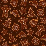 Christmas cookies seamless pattern. Christmas decoration of pattern from festive cookies with chocolate. Seamless texture. Vector illustration Stock Photos