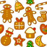 Christmas Cookies Seamless Pattern. A seamless pattern with Christmas cookies, isolated on white background. Useful also as design element for texture, pattern Stock Image