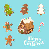 Christmas Cookies Set. Ginger house, little man, christmas tree and candy. Stock Image