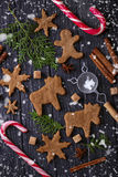 Christmas cookies in shape of deer and snowflake. Royalty Free Stock Photo