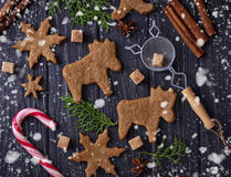 Christmas cookies in shape of deer and snowflake. Royalty Free Stock Images