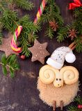 Christmas cookies in the shape of a lamb Royalty Free Stock Images