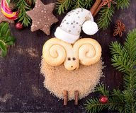 Christmas cookies in the shape of a lamb Stock Photo