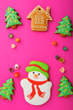 Christmas cookies in the shape of snowman, house, new year tree and candy Stock Images