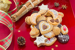 Christmas cookies, short bread in different shapes Royalty Free Stock Images