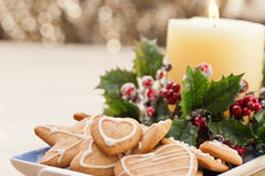 Christmas cookies, short bread in festive setting Stock Images