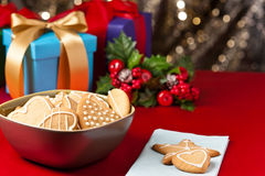 Christmas cookies, short bread in festive setting Royalty Free Stock Images