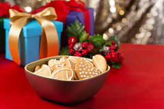 Christmas cookies, short bread in festive setting Royalty Free Stock Photo