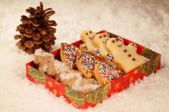 Christmas cookies with snow Stock Photography