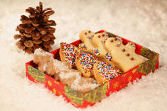 Christmas cookies with snow Royalty Free Stock Image