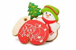 Christmas cookies with a snowman Royalty Free Stock Photography
