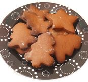 Christmas cookies. Some christmas cookies with chocolate royalty free stock photography